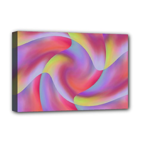 Colored Swirls Deluxe Canvas 18  x 12  (Framed)