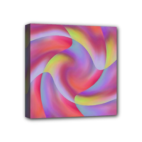 Colored Swirls Mini Canvas 4  X 4  (framed)