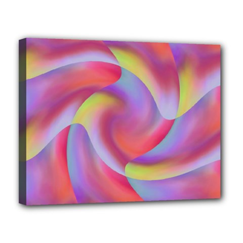 Colored Swirls Canvas 14  X 11  (framed)