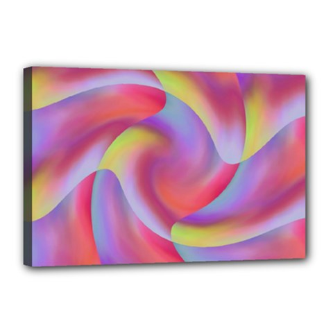 Colored Swirls Canvas 18  x 12  (Framed)