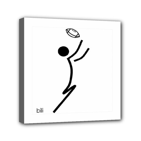 Cowcow Football Black Mini Canvas 6  x 6  (Framed)