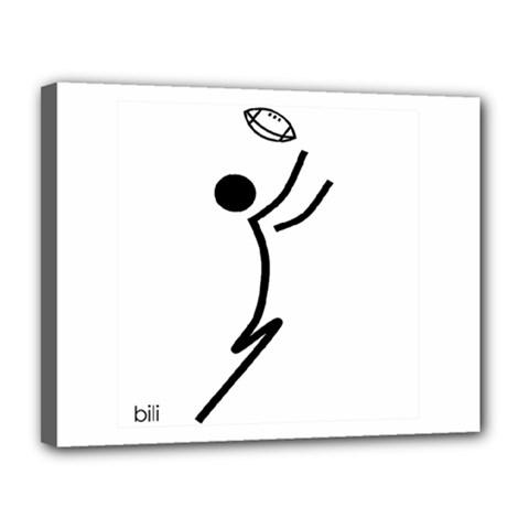 Cowcow Football Black Canvas 14  x 11  (Framed)
