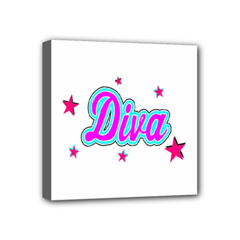 Pink Diva Mini Canvas 4  x 4  (Framed)