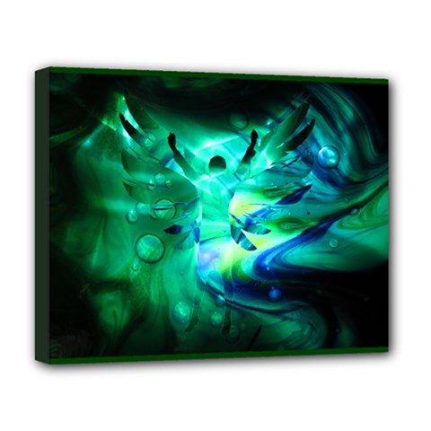 arriving angels  Deluxe Canvas 20  x 16  (Framed)