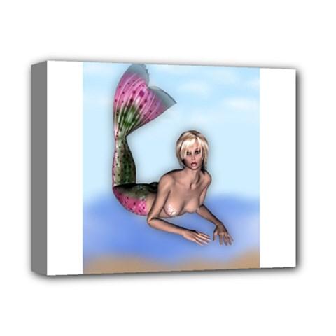 Mermaid on the beach Deluxe Canvas 14  x 11  (Framed)