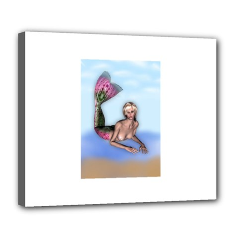 Mermaid on the beach Deluxe Canvas 24  x 20  (Framed)