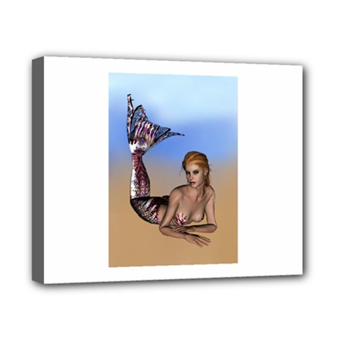Mermaid On The Beach  Canvas 10  x 8  (Framed)