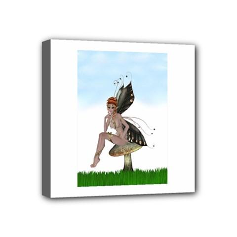 Fairy Sitting On A Mushroom Mini Canvas 4  x 4  (Framed)