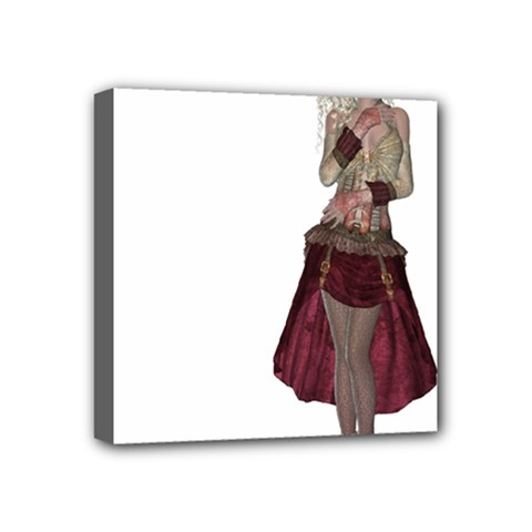 Steampunk Style Girl Wearing Red Dress Mini Canvas 4  x 4  (Framed)
