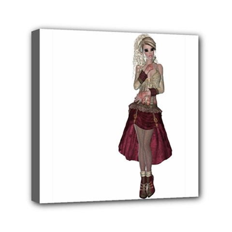 Steampunk Style Girl Wearing Red Dress Mini Canvas 6  X 6  (framed)
