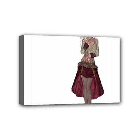 Steampunk Style Girl Wearing Red Dress Mini Canvas 6  x 4  (Framed)