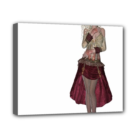 Steampunk Style Girl Wearing Red Dress Canvas 10  x 8  (Framed)