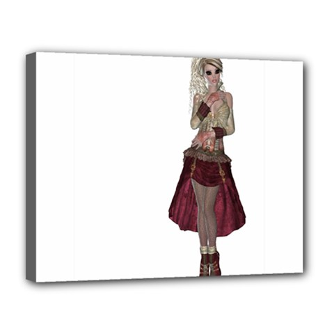 Steampunk Style Girl Wearing Red Dress Canvas 14  x 11  (Framed)