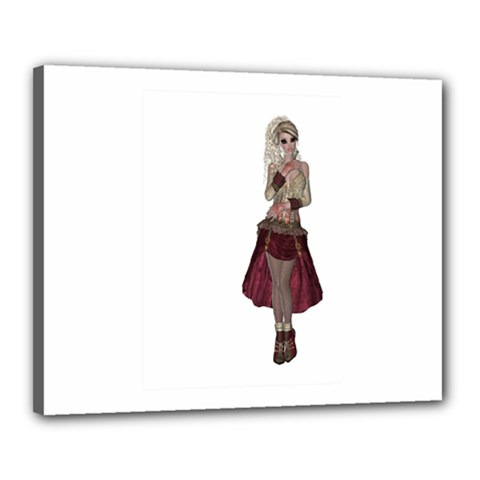 Steampunk Style Girl Wearing Red Dress Canvas 20  X 16  (framed)