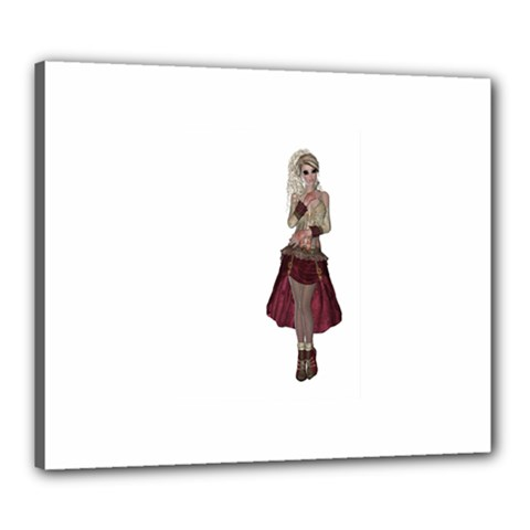 Steampunk Style Girl Wearing Red Dress Canvas 24  x 20  (Framed)