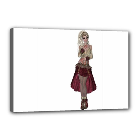 Steampunk Style Girl Wearing Red Dress Canvas 18  x 12  (Framed)