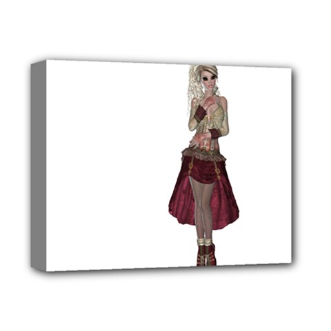 Steampunk Style Girl Wearing Red Dress Deluxe Canvas 14  x 11  (Framed)