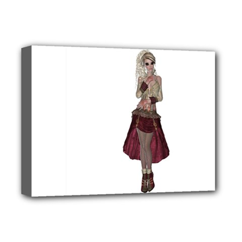 Steampunk Style Girl Wearing Red Dress Deluxe Canvas 16  x 12  (Framed)