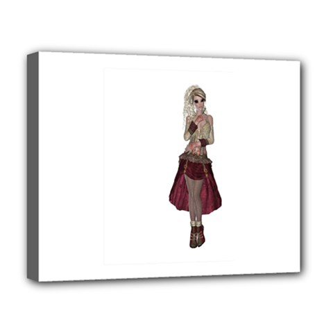 Steampunk Style Girl Wearing Red Dress Deluxe Canvas 20  x 16  (Framed)