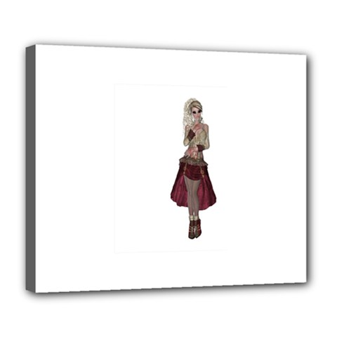 Steampunk Style Girl Wearing Red Dress Deluxe Canvas 24  X 20  (framed)