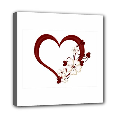 Red Love Heart With Flowers Romantic Valentine Birthday Mini Canvas 8  x 8  (Framed)