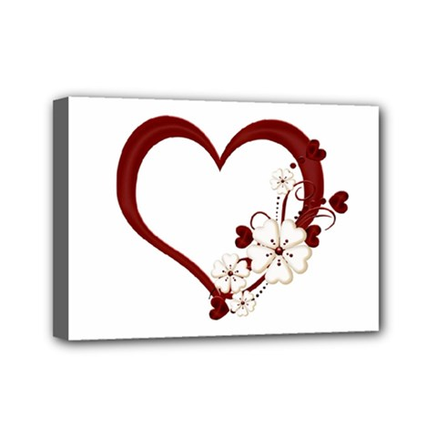 Red Love Heart With Flowers Romantic Valentine Birthday Mini Canvas 7  x 5  (Framed)