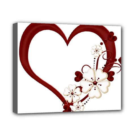 Red Love Heart With Flowers Romantic Valentine Birthday Canvas 10  x 8  (Framed)