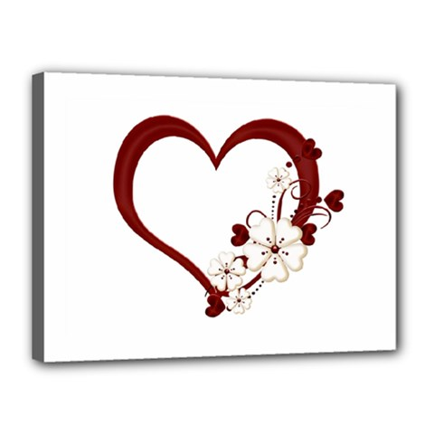 Red Love Heart With Flowers Romantic Valentine Birthday Canvas 16  X 12  (framed)
