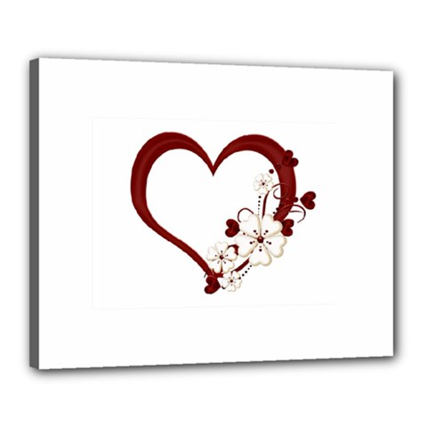 Red Love Heart With Flowers Romantic Valentine Birthday Canvas 20  x 16  (Framed)