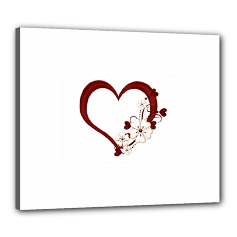 Red Love Heart With Flowers Romantic Valentine Birthday Canvas 24  X 20  (framed)
