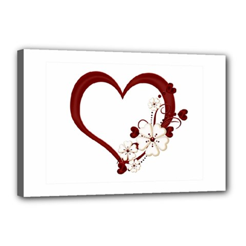 Red Love Heart With Flowers Romantic Valentine Birthday Canvas 18  x 12  (Framed)