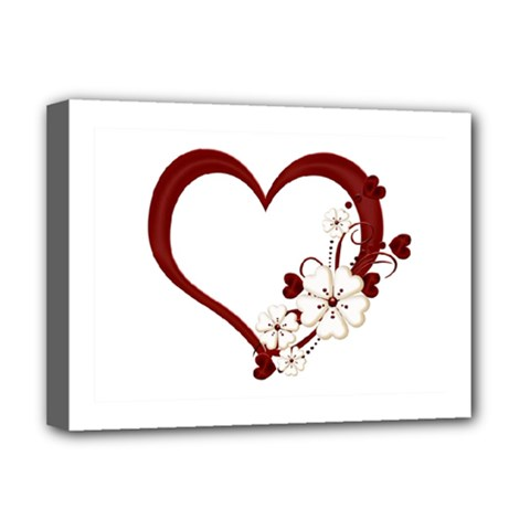 Red Love Heart With Flowers Romantic Valentine Birthday Deluxe Canvas 16  X 12  (framed)