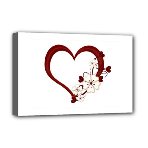 Red Love Heart With Flowers Romantic Valentine Birthday Deluxe Canvas 18  x 12  (Framed)
