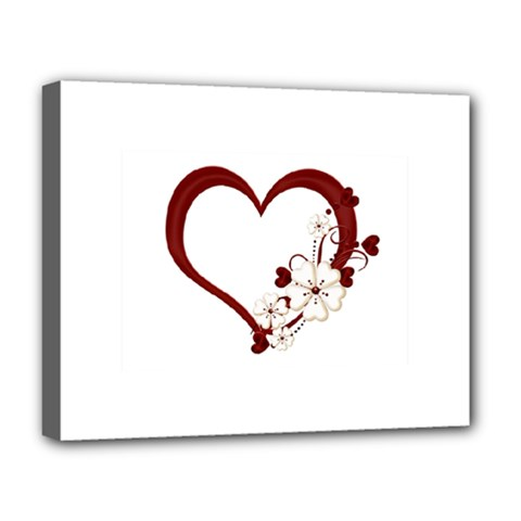 Red Love Heart With Flowers Romantic Valentine Birthday Deluxe Canvas 20  x 16  (Framed)
