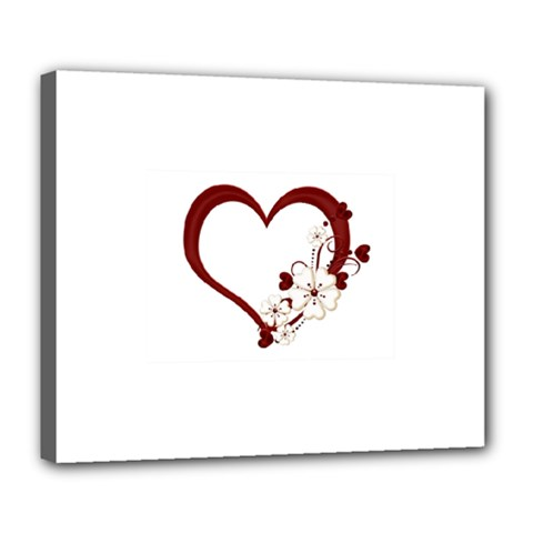 Red Love Heart With Flowers Romantic Valentine Birthday Deluxe Canvas 24  x 20  (Framed)