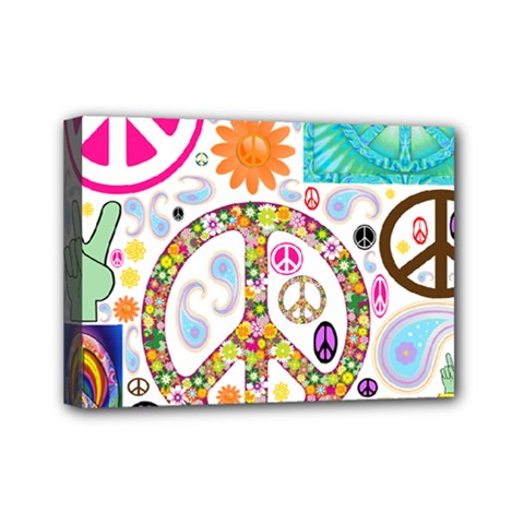 Peace Collage Mini Canvas 7  x 5  (Framed)