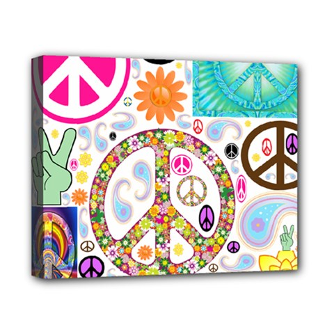 Peace Collage Canvas 10  x 8  (Framed)