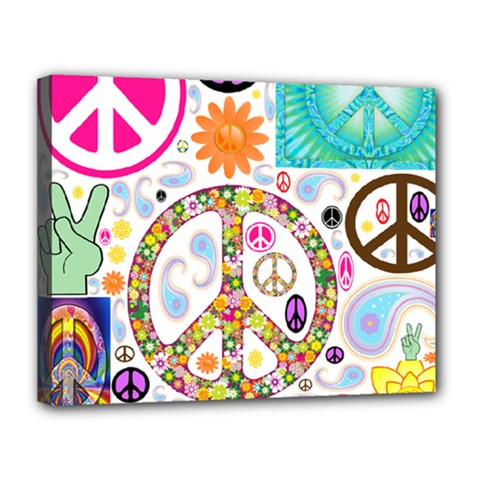 Peace Collage Canvas 14  X 11  (framed)