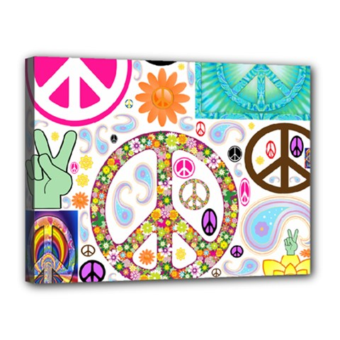 Peace Collage Canvas 16  x 12  (Framed)