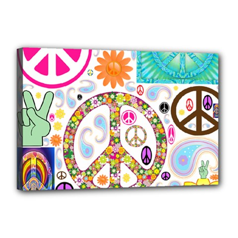 Peace Collage Canvas 18  x 12  (Framed)