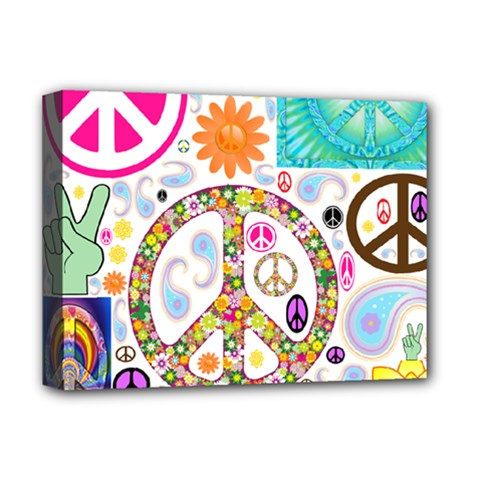 Peace Collage Deluxe Canvas 16  X 12  (framed)