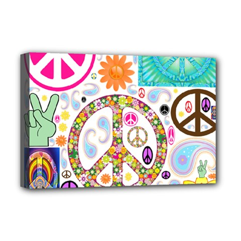Peace Collage Deluxe Canvas 18  X 12  (framed)