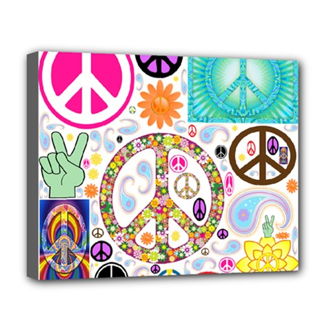 Peace Collage Deluxe Canvas 20  X 16  (framed)