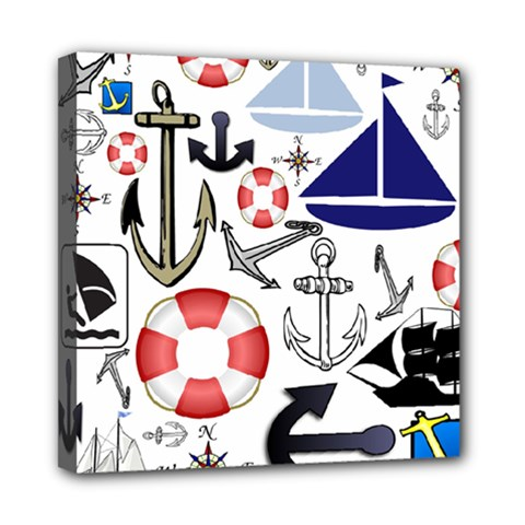 Nautical Collage Mini Canvas 8  X 8  (framed)