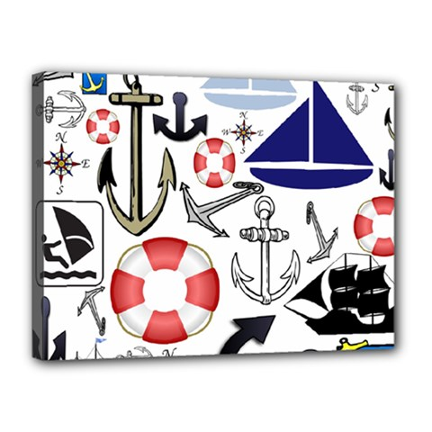 Nautical Collage Canvas 16  X 12  (framed)