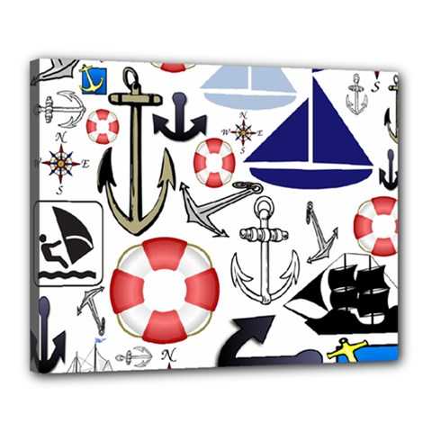 Nautical Collage Canvas 20  X 16  (framed)