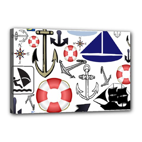 Nautical Collage Canvas 18  X 12  (framed)