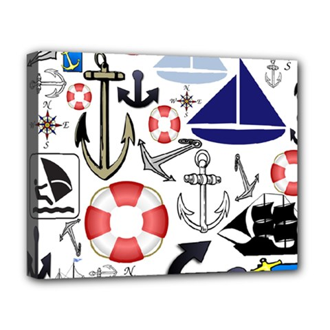 Nautical Collage Deluxe Canvas 20  x 16  (Framed)