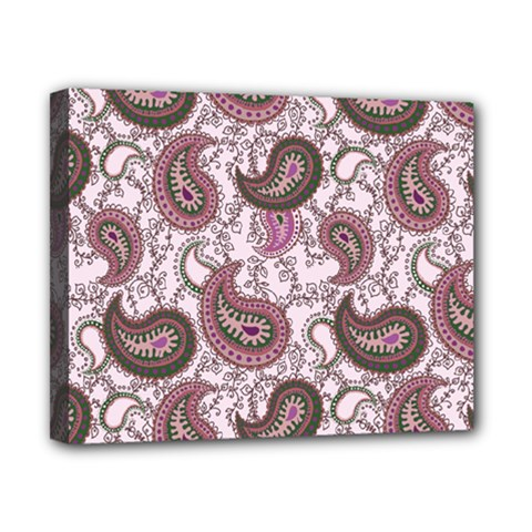 Paisley in Pink Canvas 10  x 8  (Framed)