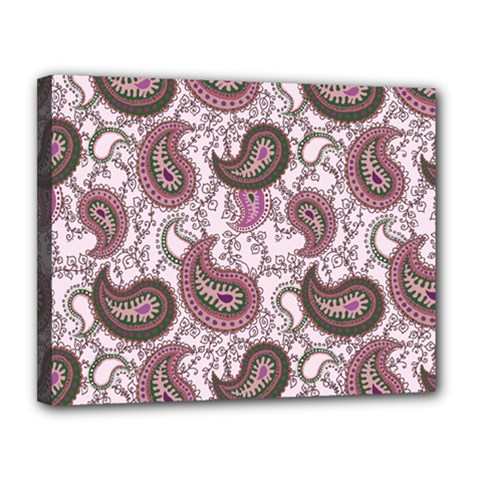 Paisley in Pink Canvas 14  x 11  (Framed)